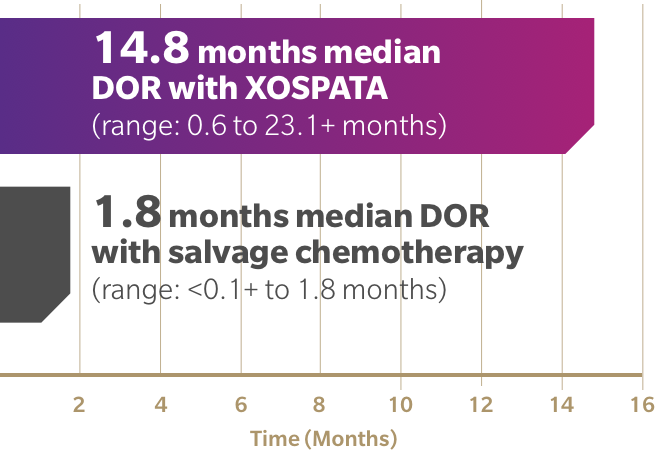 14.8 months duration of complete remission (DOR) with XOSPATA. 1.8 months median DOR with salvage chemotherapy.